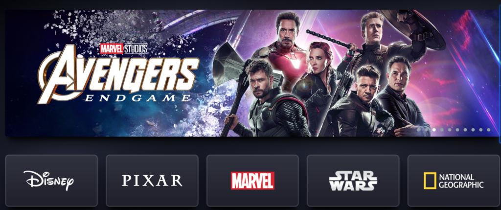 Die Startseite von Disney Plus