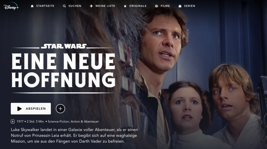 Star Wars bei Disney Plus