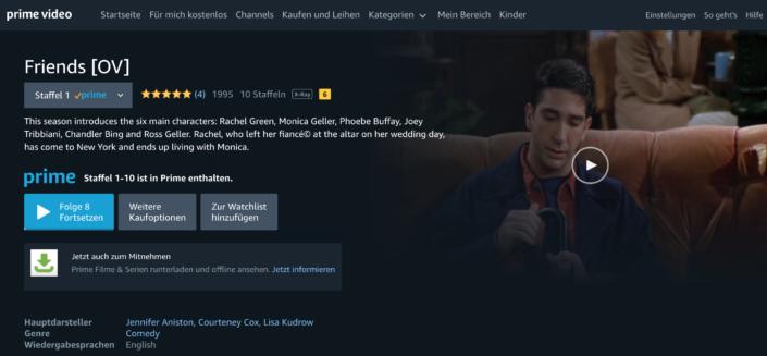 Die traditionsreiche Sitcom Friends wechselte vor Kurzem von Netflix zum Amazon Prime. |Bild: Amazon