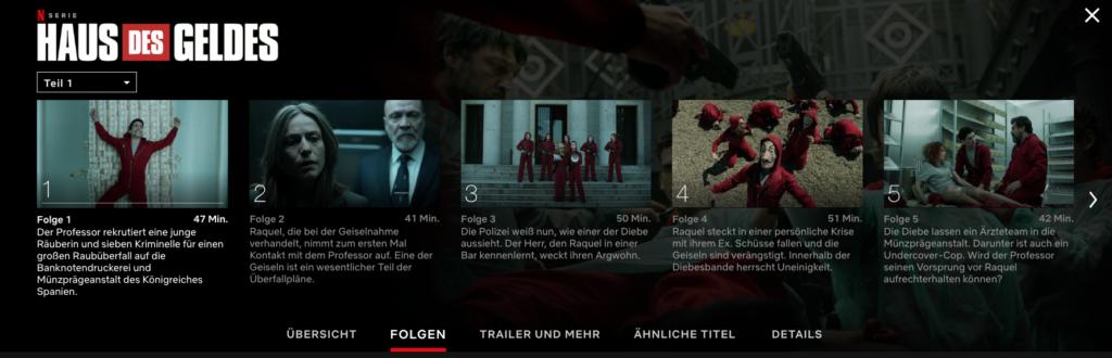 Die Folgen von Haus des Geldes aufgelistet. | Bild: Netflix
