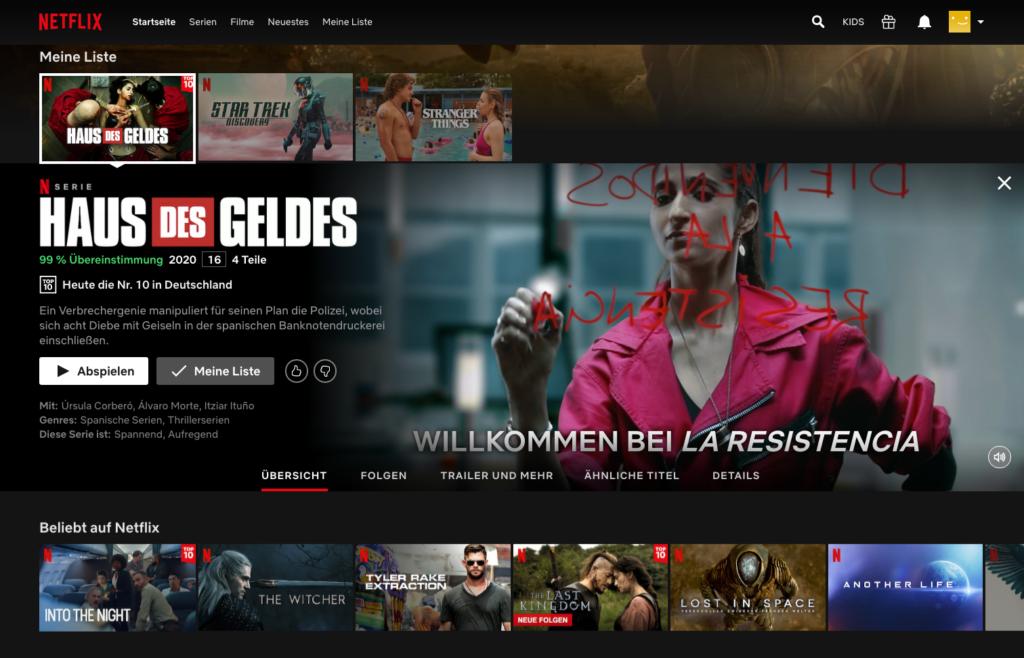Wählt man einen Film oder eine Serie aus, werden hilfreiche Informationen angezeigt. |Bild: Netflix
