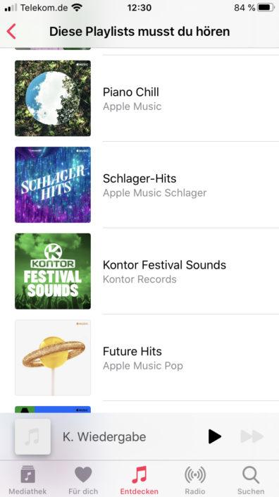 Playlists Vorschläge