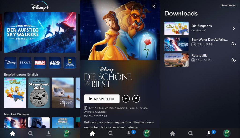 Auf mobilen Geräten lassen sich die Inhalte auf offline speichern. | Bild: Disney