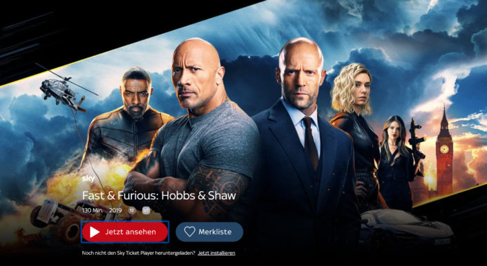 Fast & Furious bei Sky Ticket