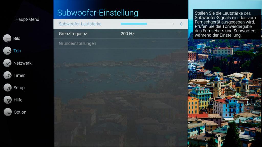 Screenshot Subwoofer Menü