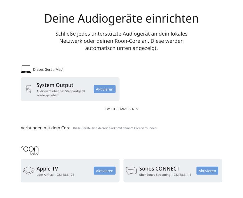 Roon Audio Devices einrichten