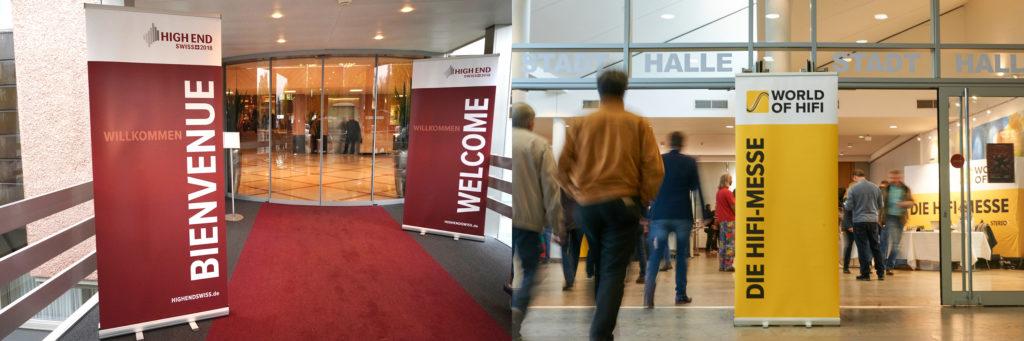 Collage: Die Eingänge der Messen High End Swiss und World of HiFi nebeneinander