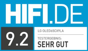 HIFI.DE Testsiegel für LG OLED 65CX9LA