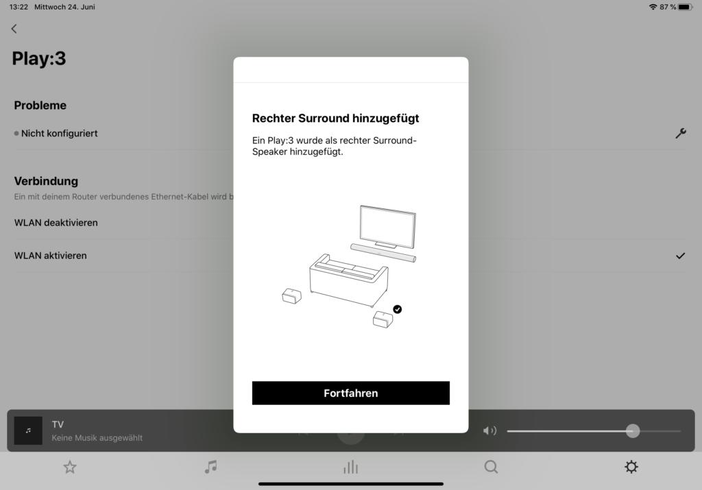 Sonos App Rear Speaker Einbindung