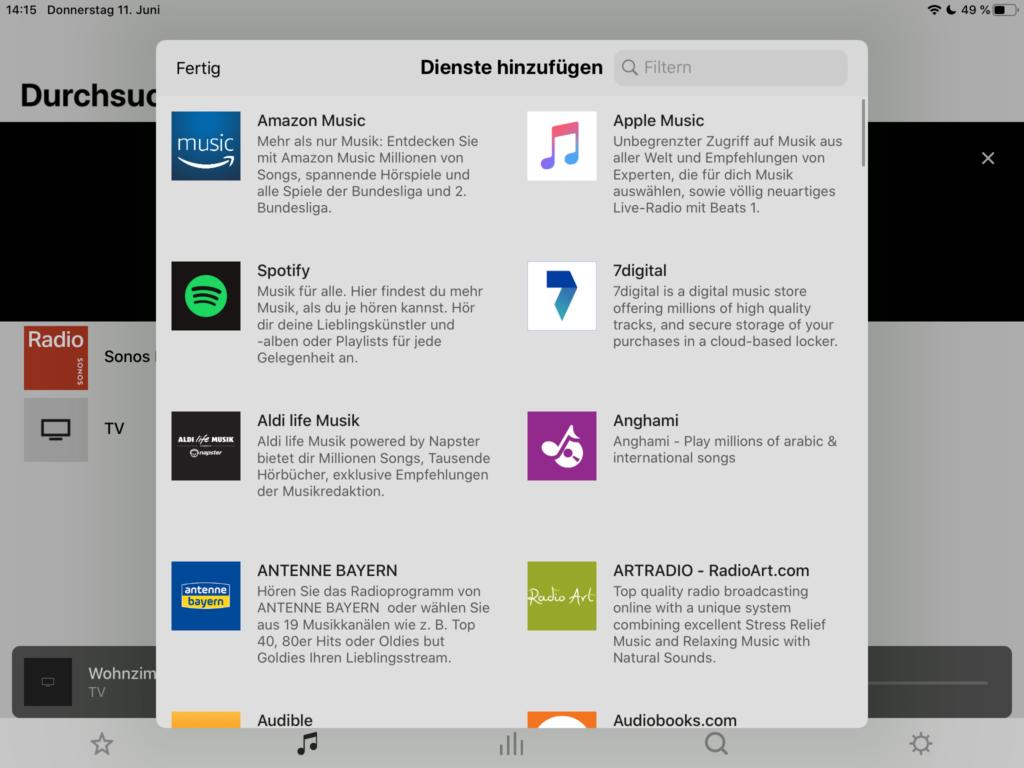 Sonos Streaming-Dienste einrichten