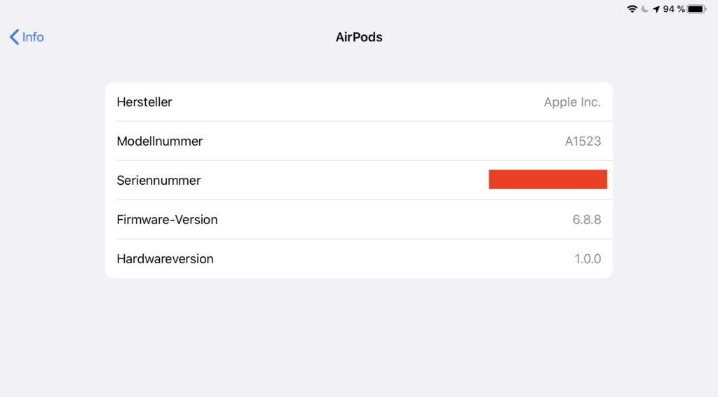 Apple AirPods Einstellungen auf dem iPad