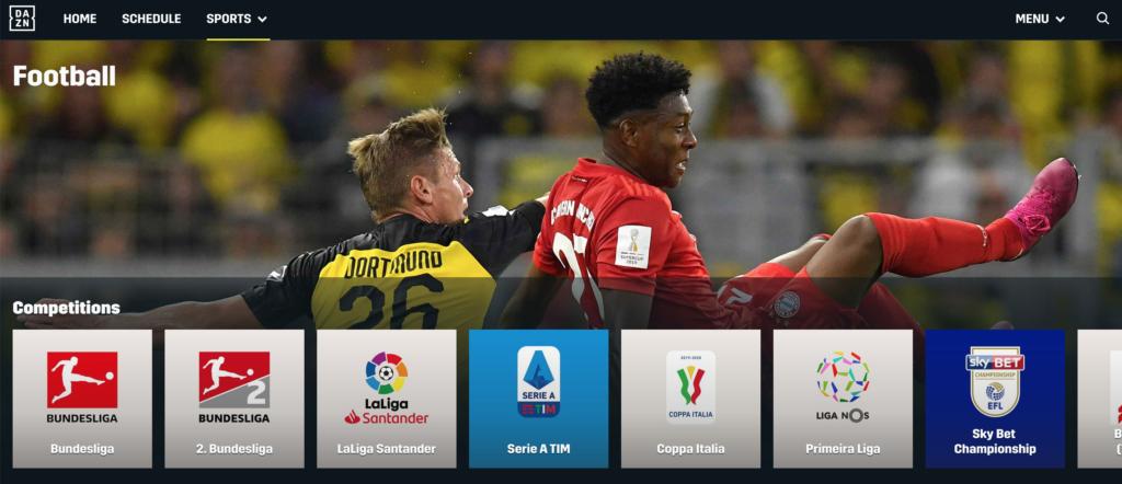 Wie jede Sportart hat auch Fußball einen eigenen Bereich auf der Seite. |Bild: DAZN