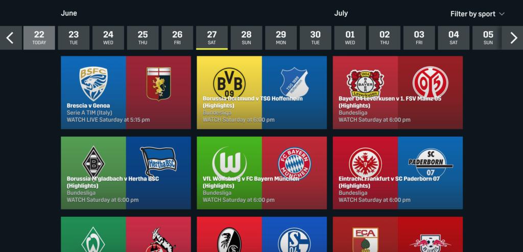 Unter Schedule findet man den Sendeplan, der sich nach Sportarten filtern lässt. | Bild: DAZN