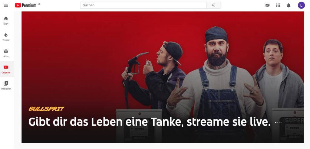 Die Startseite von Youtube