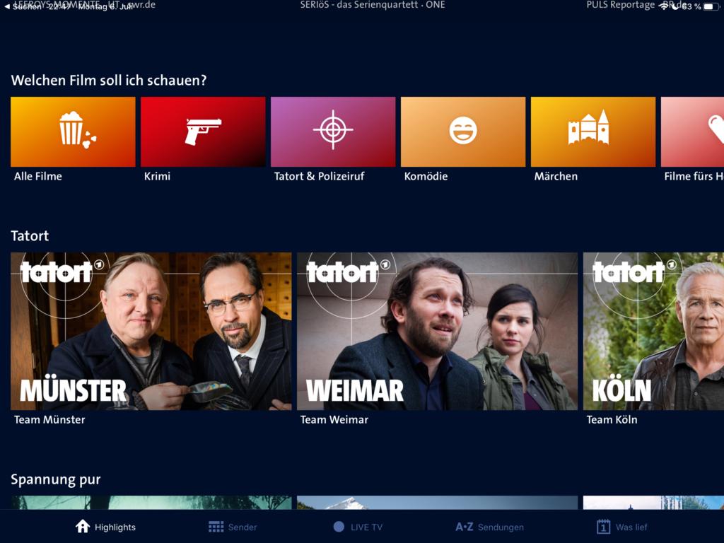 ARD-Mediathek Fernsehen INternet