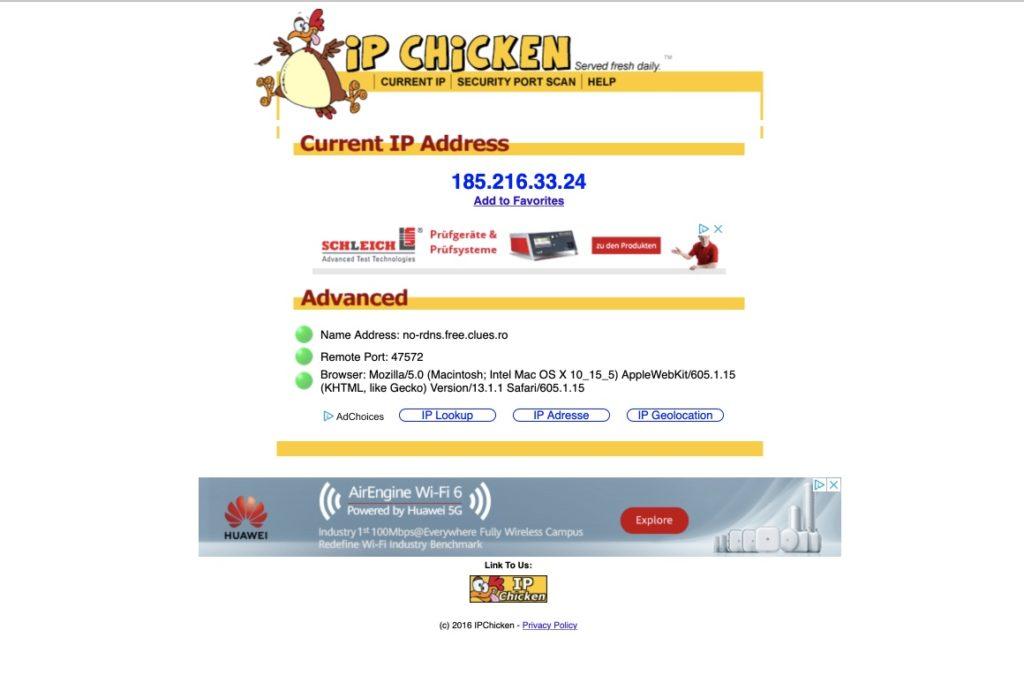 IP Chicken IP-Adresse