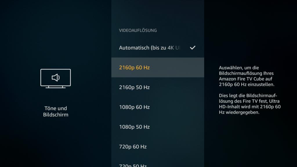 Das Fire TV bietet einige Video-Einstellungen. Andere Boxen machen hier jedoch einen noch besseren Job. |Bild: HIFI.DE