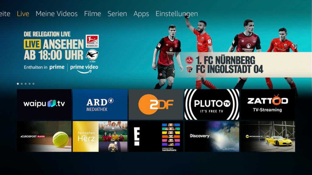 Unter dem Menüpunkt Live werden aktuelle Übertragungen sowie Apps von Sender angezeigt. |Bild: HIFI.DE