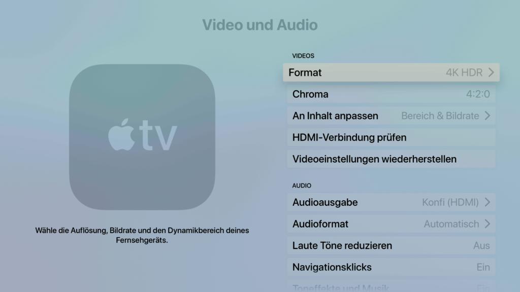 Sowohl im Video- als auch im Audio-Bereich lassen sich jede Menge Einstellungen vornehmen. |Bild: Apple