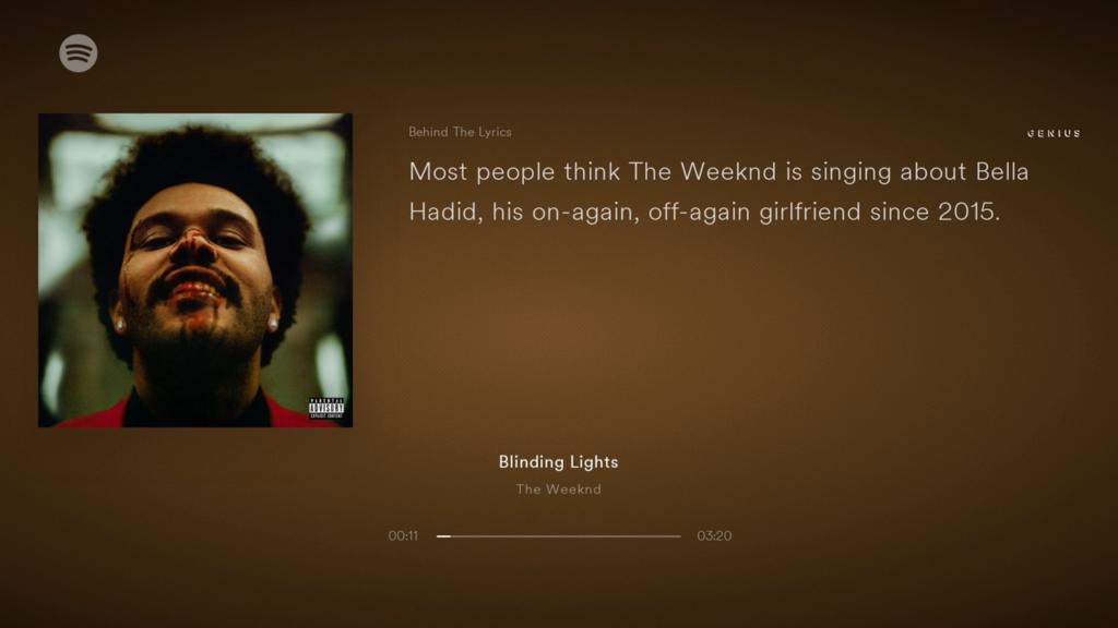 Streamt man Spotify über den Chromecast Ultra, so werden die Behind The Liyrics-Texte auf dem TV angezeigt. | Bild: HIFI.DE