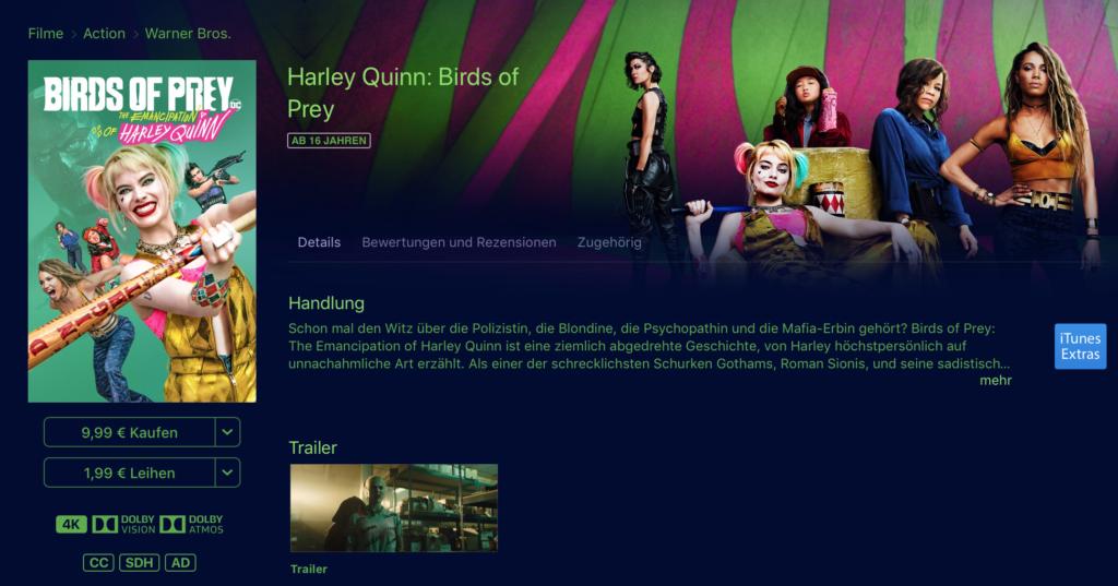 Birds of Prey bei iTunes