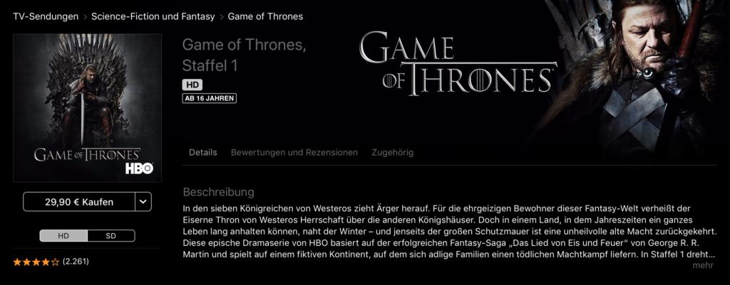 Game of Thrones im iTunes Store