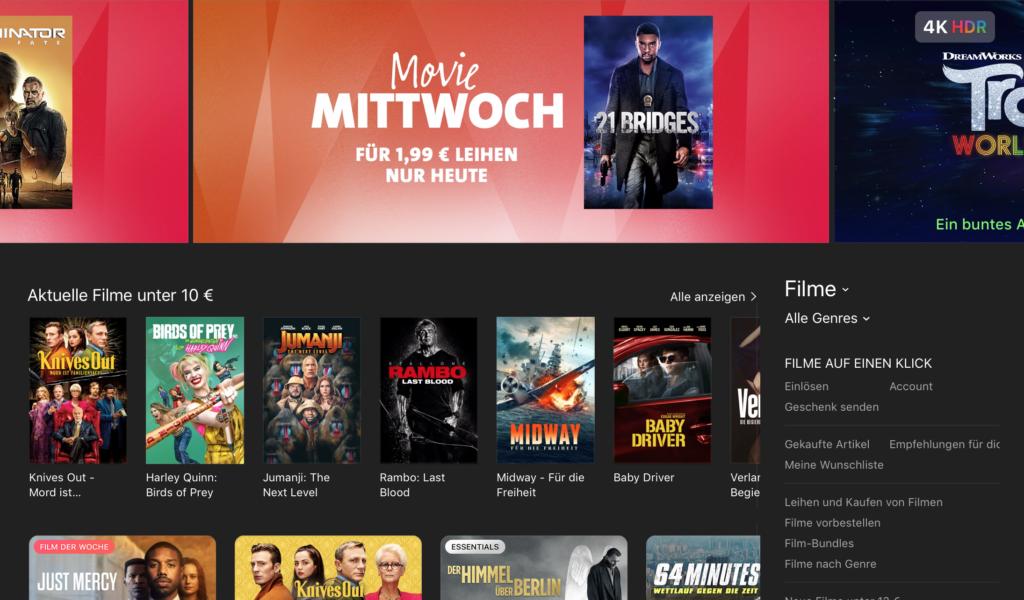 Die Startseite des iTunes Store.