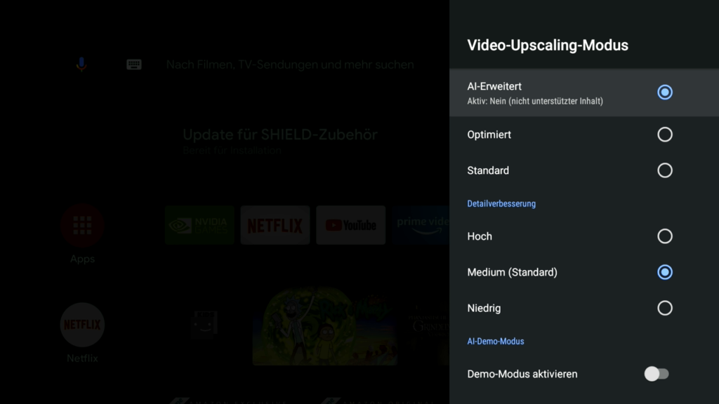 Video-Upscaling des Shield TVs