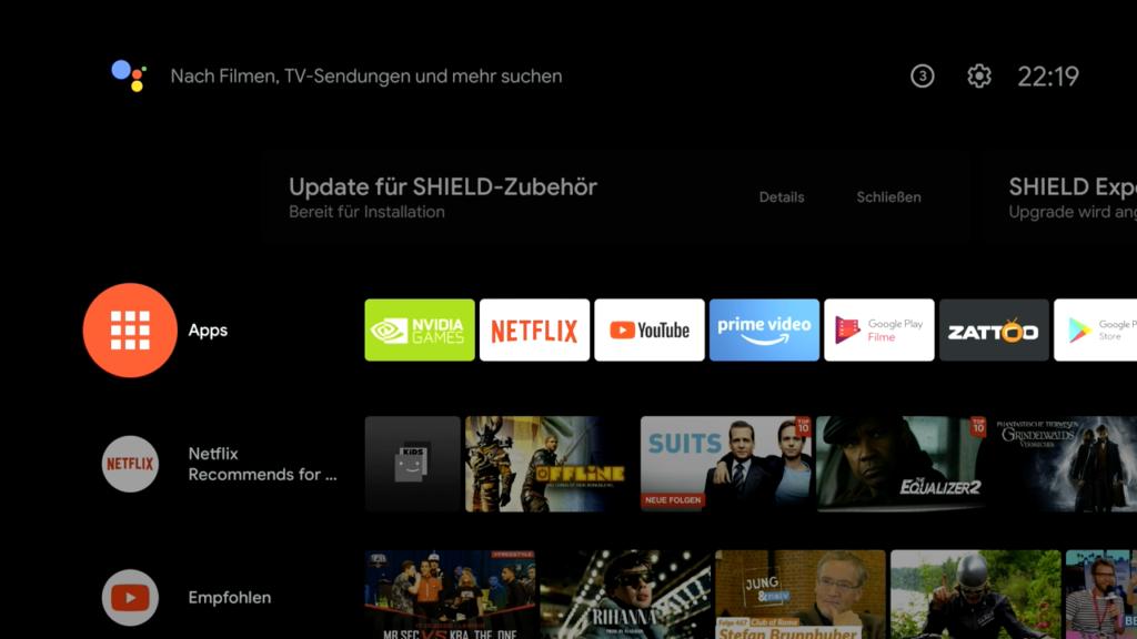 Startseite des Shield TV