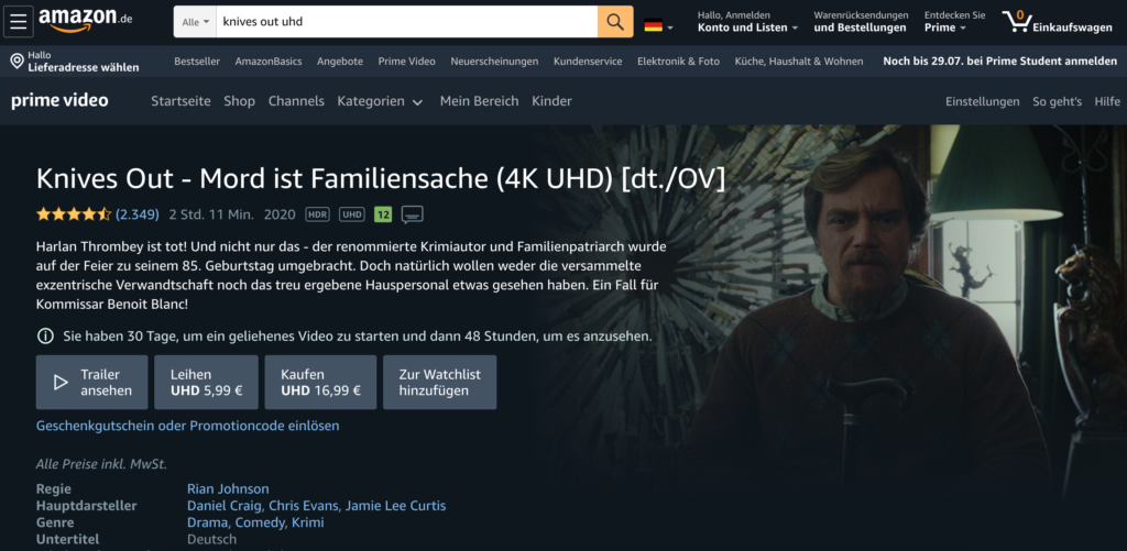 Knives Out in 4K bei Amazon Prime.