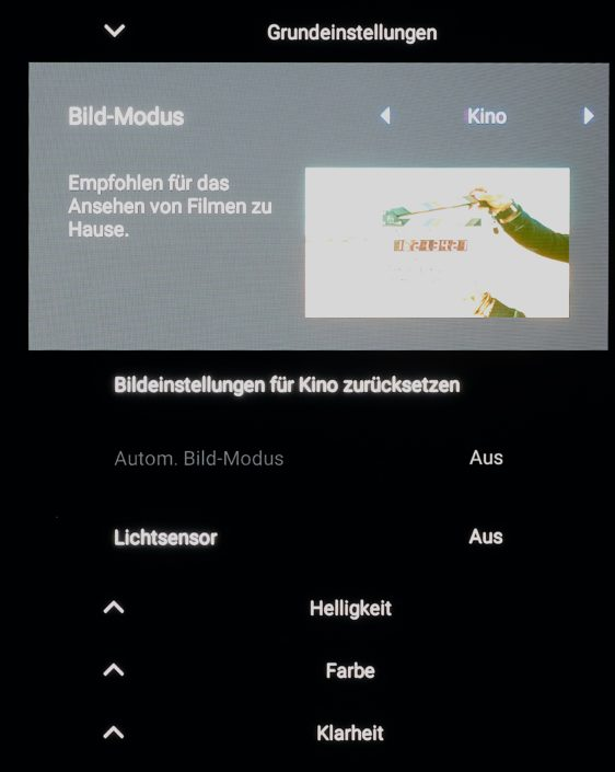 Bildmenü des Sony A8 OLED TV