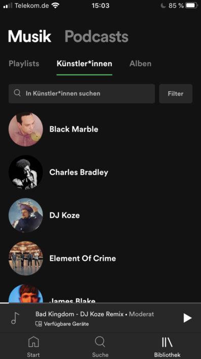 Spotify Bibliothek Künstler