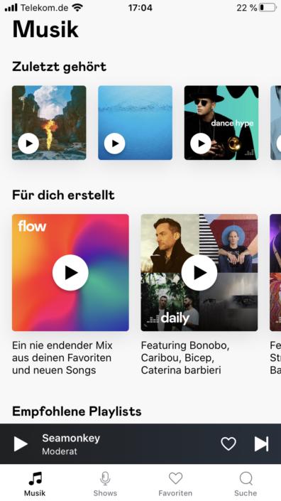 Deezer Startseite Mixes