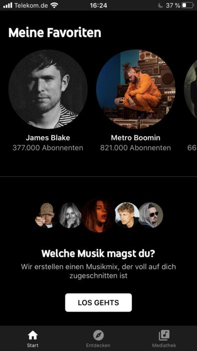 YouTube Music Startseite