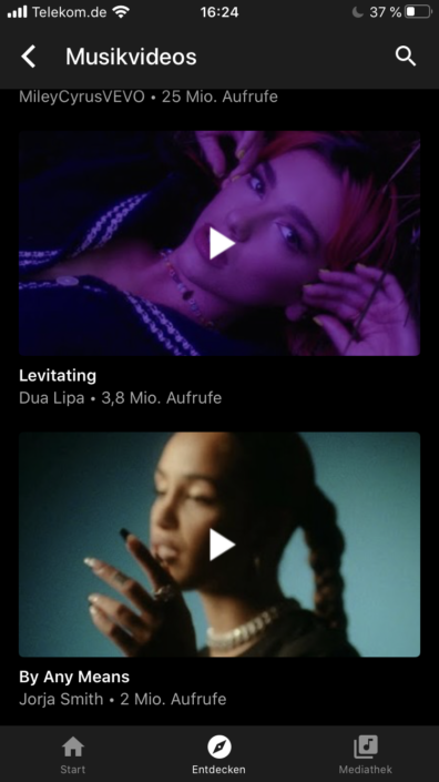 YouTube Music Musikvideos