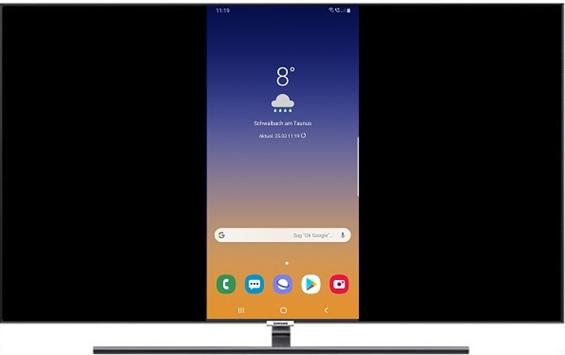 Wenn du einen kompatiblen Fernseher ausgewählt hast, wird das Display deines Smartphones auf dem TV gespiegelt