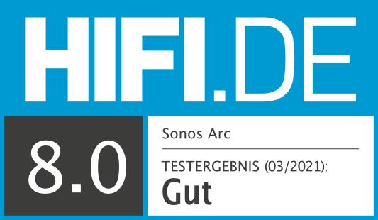 HIFI.DE Testsiegel für Sonos Arc