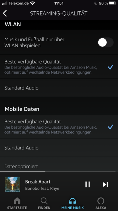 Amazon Music Soundqualität Einstellung