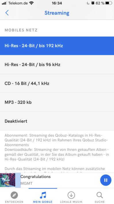 Qobuz Soundqualität Settings