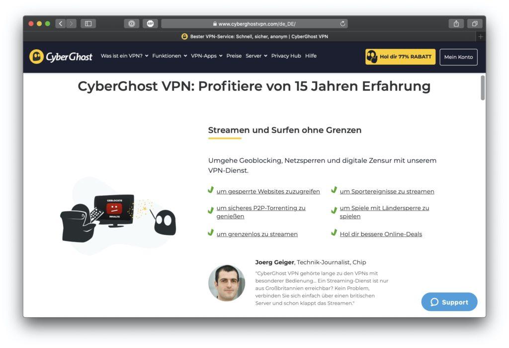Cyberghost-Startseite