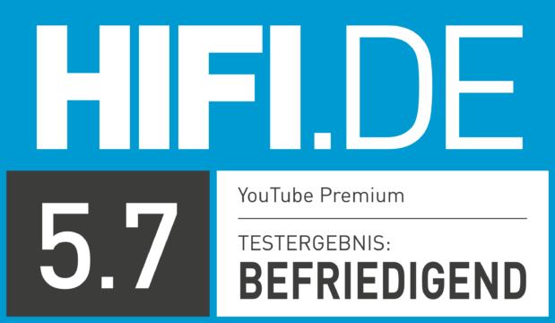 HIFI.DE Testsiegel für YouTube Premium