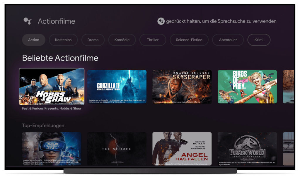 Google TV ist als UI zunächst nur am neuen Chromecast verfügbar.