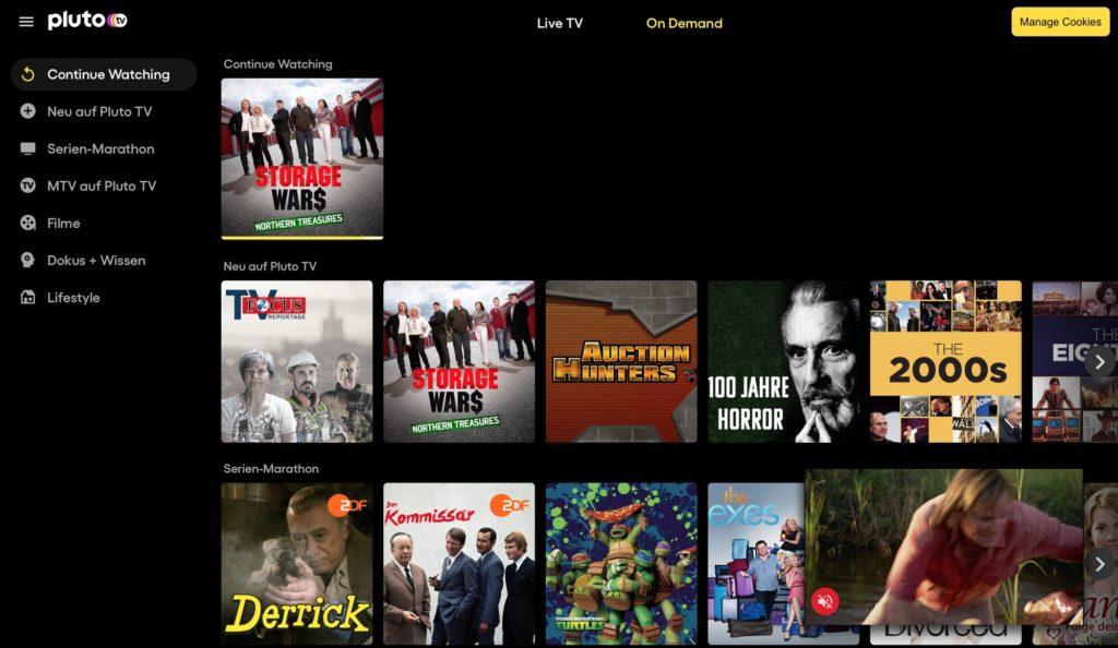 Pluto TV mit On-Demand-Inhalten