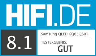 HIFI.DE Testsiegel für Samsung Q60T im Test: Das QLED Einstiegsmodell von Samsung
