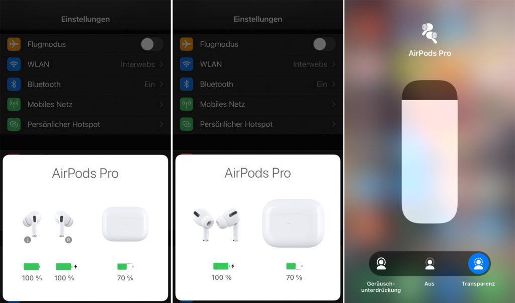 Die Einstellungen der Airpods Pro