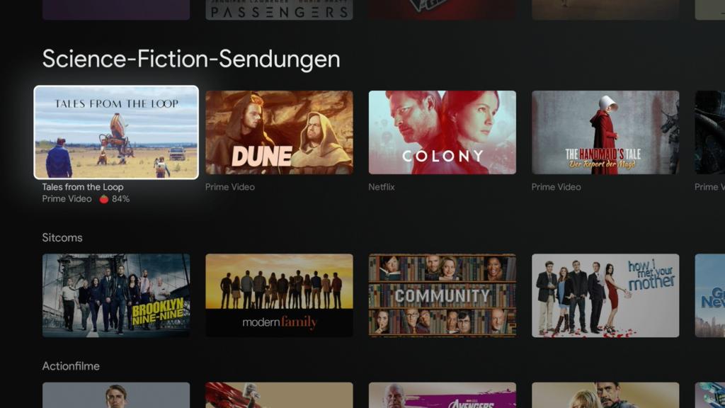Die Empfehlungen von Google TV