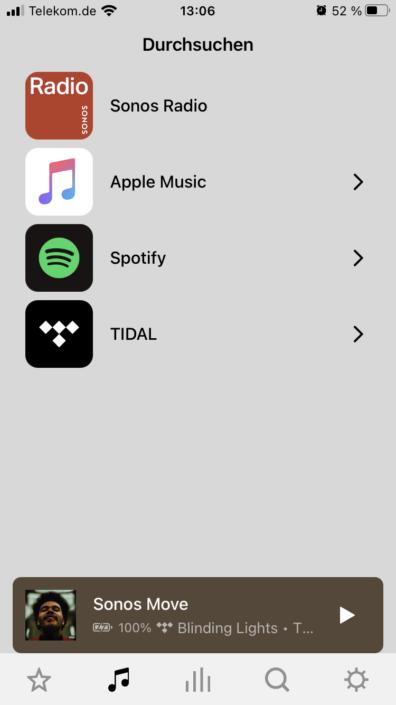 Sonos App Streaming-Dienste