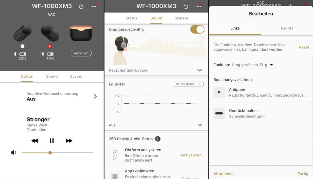 Die App der Sony WF-1000XM3