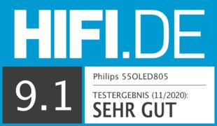 HIFI.DE Testsiegel für Philips OLED 805 und OLED 855 im Test: Besseres Bild dank künstlicher Intelligenz?