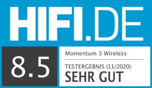 HIFI.DE Testsiegel für Sennheiser Momentum 3 Wireless im Test: ANC im klassischen HiFi-Look